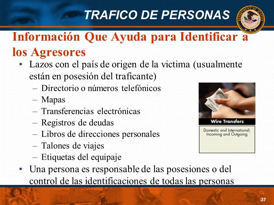 TRAFICO DE PERSONAS 37 Información Que Ayuda para Identificar a los Agresores Lazos con el país de origen de la victima (usualmente están en posesión