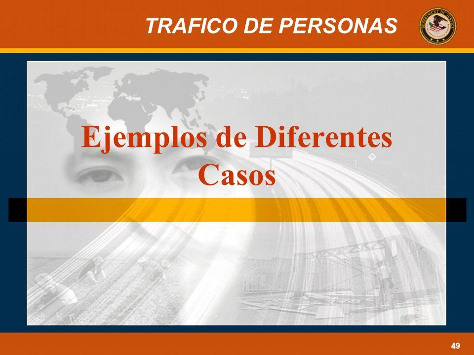 TRAFICO DE PERSONAS 49 Ejemplos de Diferentes Casos