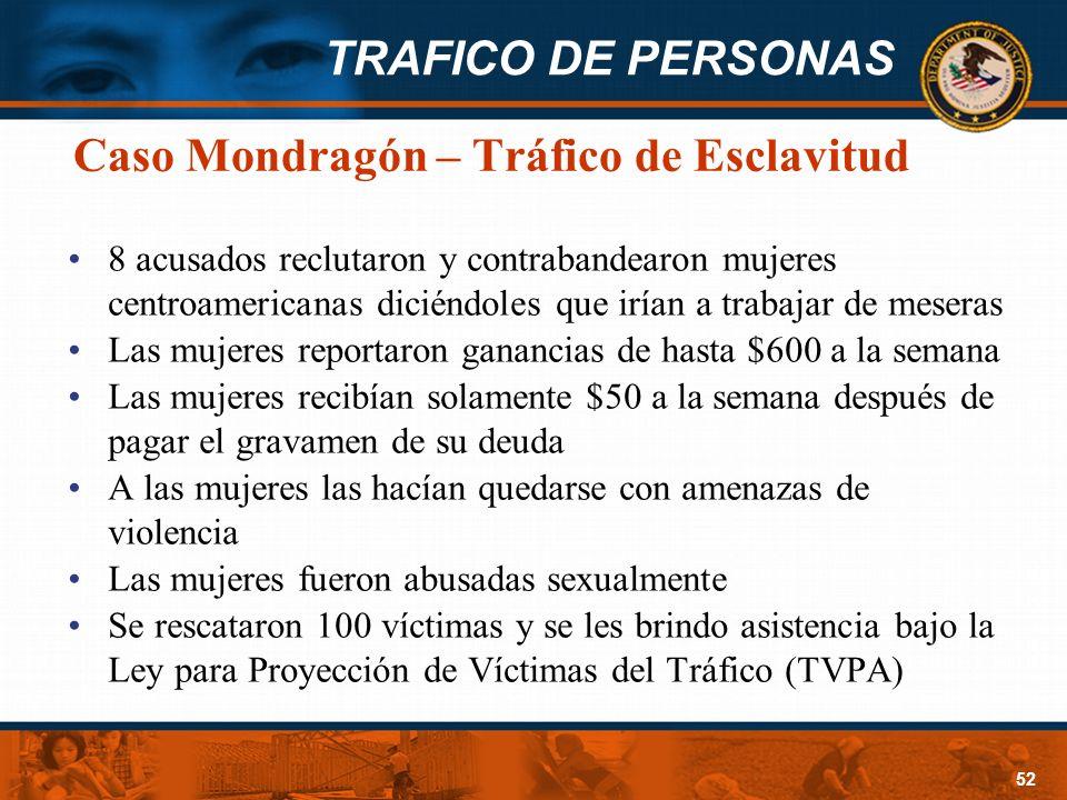 TRAFICO DE PERSONAS 52 Caso Mondragón – Tráfico de Esclavitud 8 acusados reclutaron y contrabandearon mujeres centroamericanas diciéndoles que irían a