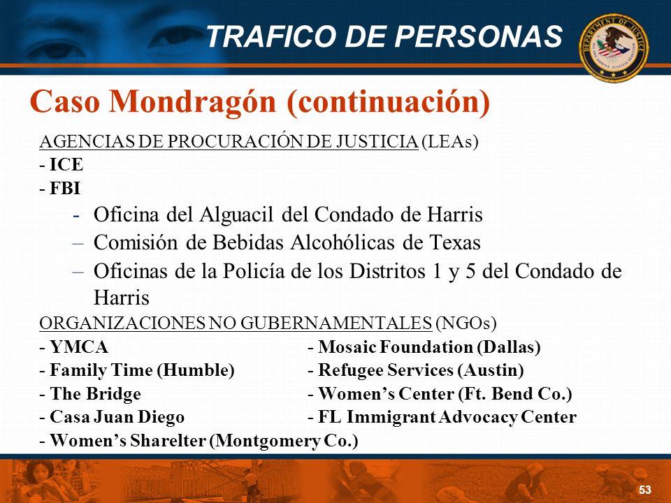 TRAFICO DE PERSONAS 53 Caso Mondragón (continuación) AGENCIAS DE PROCURACIÓN DE JUSTICIA (LEAs) - ICE - FBI -Oficina del Alguacil del Condado de Harri