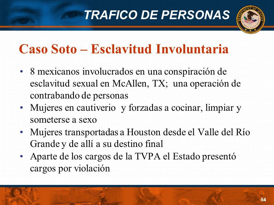 TRAFICO DE PERSONAS 54 Caso Soto – Esclavitud Involuntaria 8 mexicanos involucrados en una conspiración de esclavitud sexual en McAllen, TX; una opera