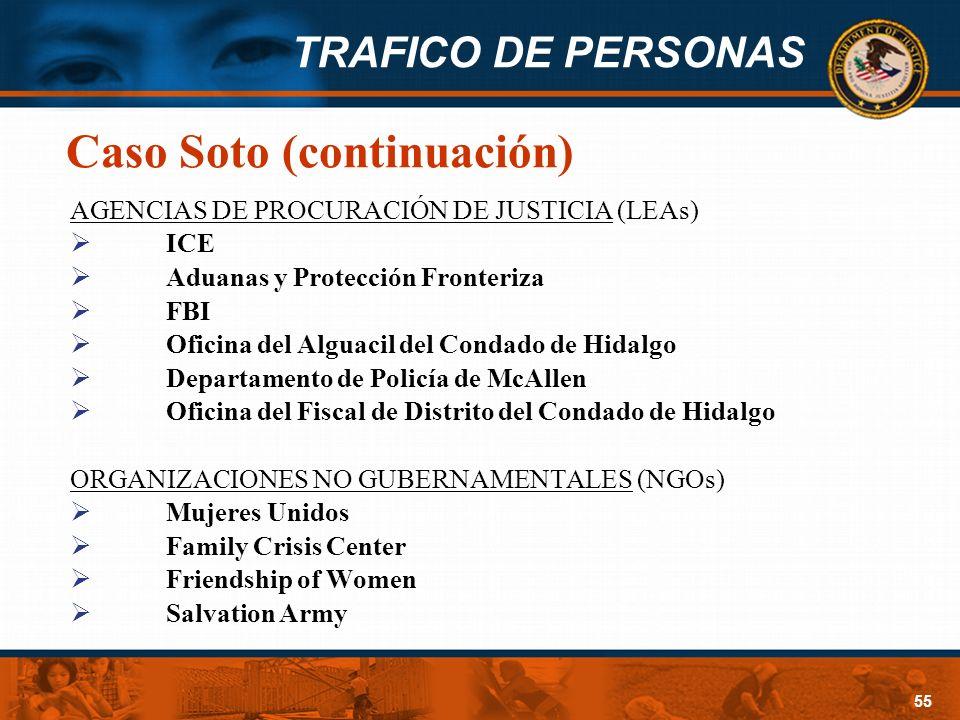 TRAFICO DE PERSONAS 55 Caso Soto (continuación) AGENCIAS DE PROCURACIÓN DE JUSTICIA (LEAs) ICE Aduanas y Protección Fronteriza FBI Oficina del Alguaci