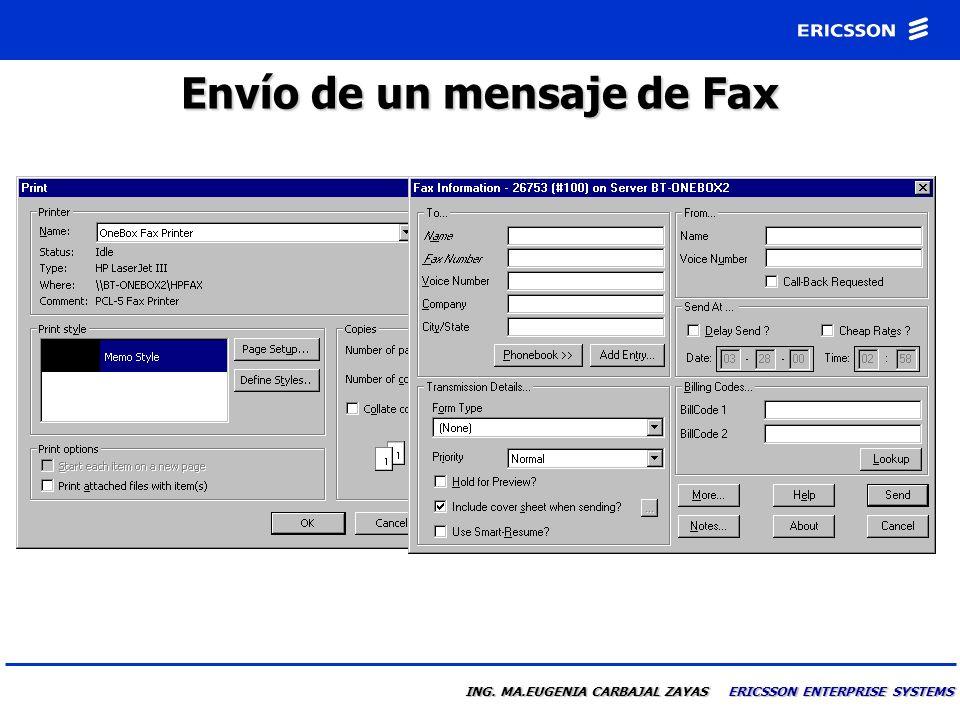 Vista de un mensaje de Fax