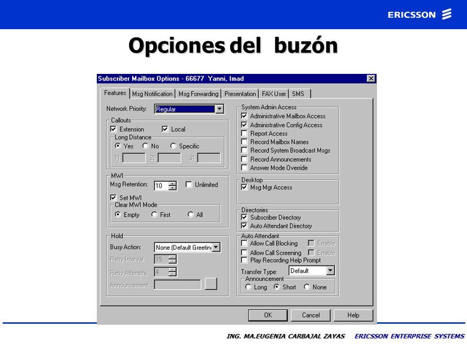ING. MA.EUGENIA CARBAJAL ZAYAS ERICSSON ENTERPRISE SYSTEMS Usuario de Correo de Voz