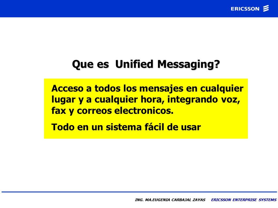 ING.MA.EUGENIA CARBAJAL ZAYAS ERICSSON ENTERPRISE SYSTEMS Que es Unified Messaging.