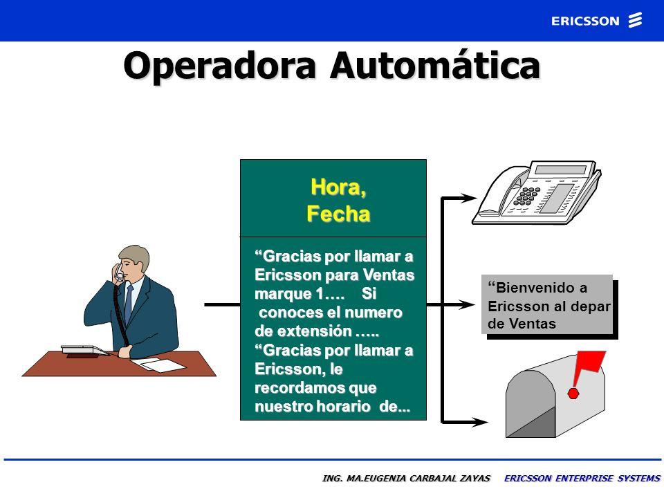 ING. MA.EUGENIA CARBAJAL ZAYAS ERICSSON ENTERPRISE SYSTEMS Contestar la Llamada Es Joaquin Ruiz de Ericsson. Me encuentro en junta hasta las 2:00 p.m.