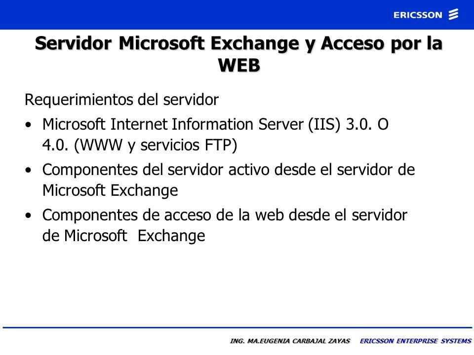 ING. MA.EUGENIA CARBAJAL ZAYAS ERICSSON ENTERPRISE SYSTEMS Requerimientos del sistema para UM basado en Server El servidor de e-mail debera ser Micros