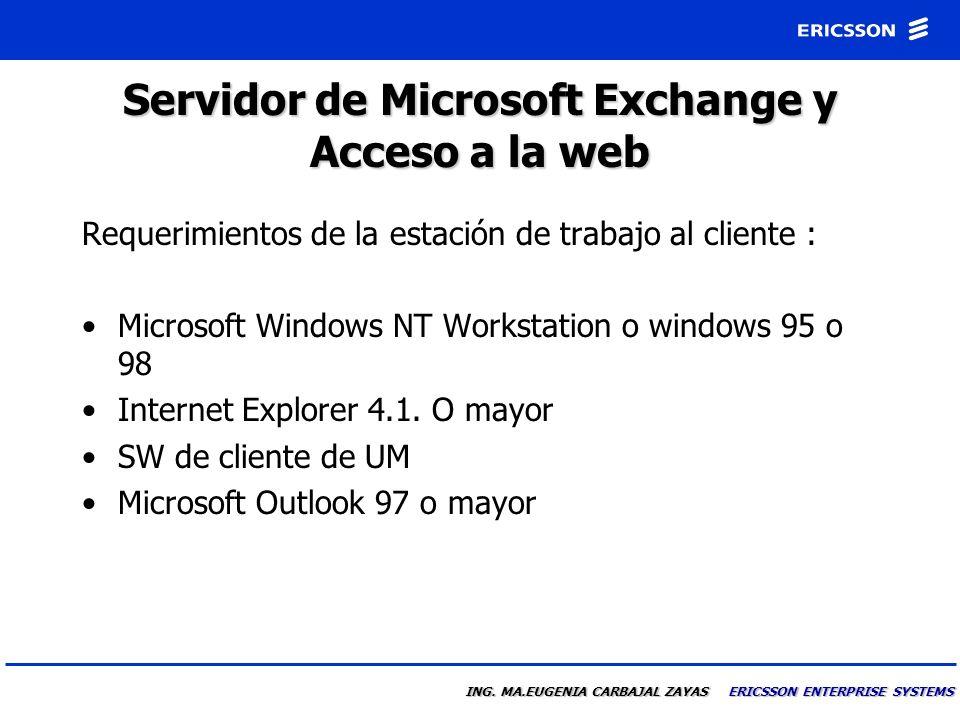 ING. MA.EUGENIA CARBAJAL ZAYAS ERICSSON ENTERPRISE SYSTEMS Servidor Microsoft Exchange y Acceso por la WEB Requerimientos del servidor Microsoft Inter