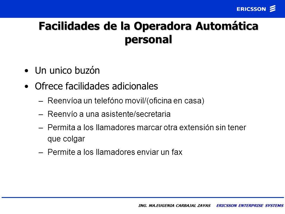 ING. MA.EUGENIA CARBAJAL ZAYAS ERICSSON ENTERPRISE SYSTEMS Operadora Automática Personal Es Joaquin Ruiz. Me encuentro en un viaje de negocios. Por fa