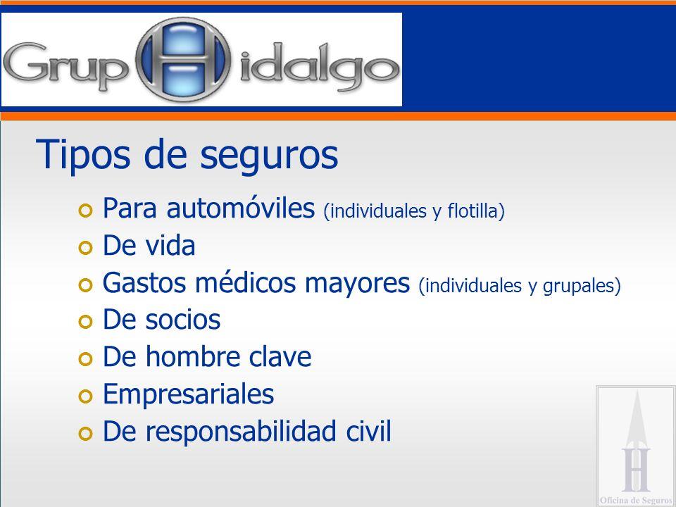 Tipos de seguros Para automóviles (individuales y flotilla) De vida Gastos médicos mayores (individuales y grupales) De socios De hombre clave Empresariales De responsabilidad civil