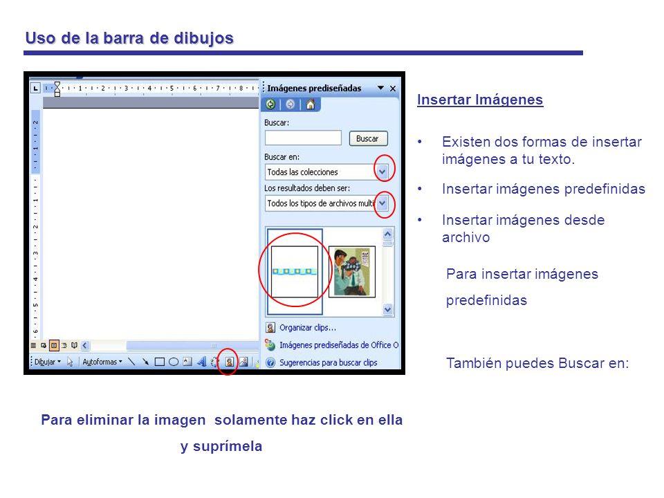 Uso de la barra de dibujos Insertar Imágenes Para insertar imágenes desde archivo Primero debes saber donde está la imagen que quieres insertar, por ejemplo en mis imágenes Para eliminar la imagen solamente haz click en ella y suprímela