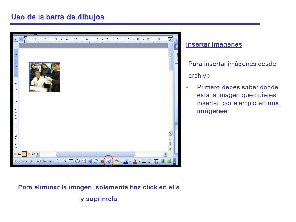 Uso de la barra de dibujos Insertar Tablas Estas sirven para organizar la información contenida en el documento como por ejemplo: organizar.