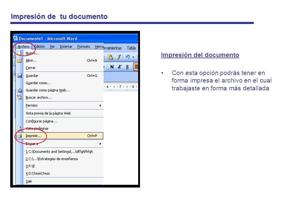 Impresión de tu documento Impresión del documento Podrás encontrar varias formas de impresión Intervalo de páginas Y al aceptar la impresión automáticamente imprime el documento Todo Pagina actual Paginas (para que imprimas solo la que quieras imprimir) Numero de copias