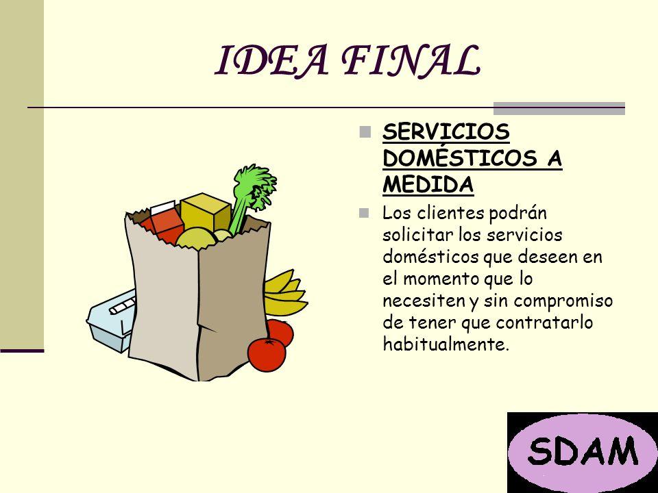 IDEA FINAL SERVICIOS DOMÉSTICOS A MEDIDA Los clientes podrán solicitar los servicios domésticos que deseen en el momento que lo necesiten y sin compromiso de tener que contratarlo habitualmente.