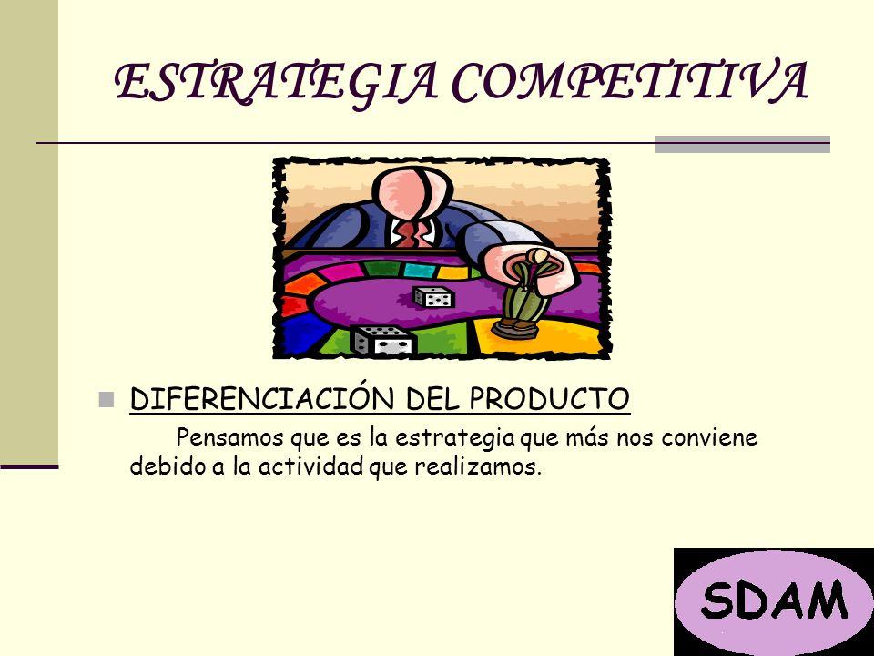 ESTRATEGIA COMPETITIVA DIFERENCIACIÓN DEL PRODUCTO Pensamos que es la estrategia que más nos conviene debido a la actividad que realizamos.
