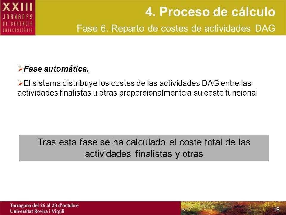 19 Fase automática. El sistema distribuye los costes de las actividades DAG entre las actividades finalistas u otras proporcionalmente a su coste func