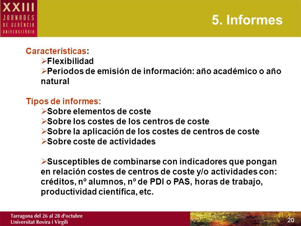 20 5. Informes Características: Flexibilidad Periodos de emisión de información: año académico o año natural Tipos de informes: Sobre elementos de cos