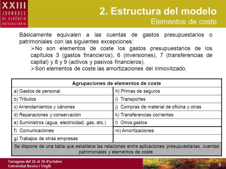 5 Básicamente equivalen a las cuentas de gastos presupuestarios o patrimoniales con las siguientes excepciones: No son elementos de coste los gastos p