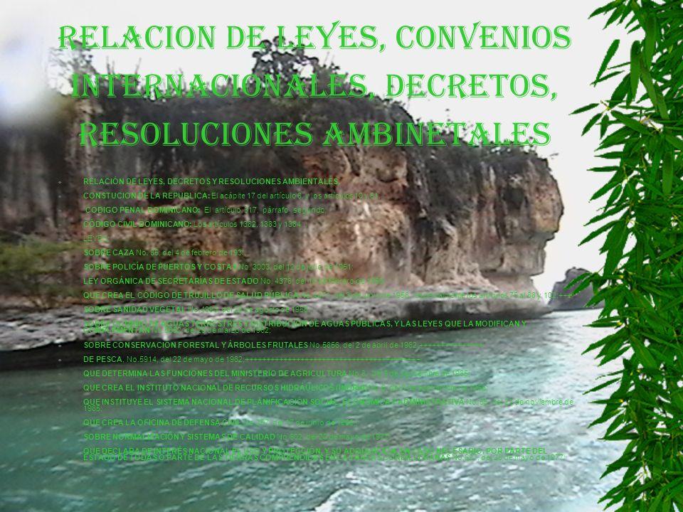 RELACION DE LEYES, CONVENIOS INTERNACIONALES, DECRETOS, RESOLUCIONES AMBINETALES RELACIÓN DE LEYES, DECRETOS Y RESOLUCIONES AMBIENTALES.