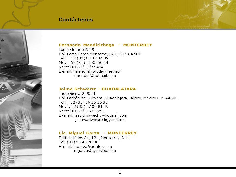 11 Fernando Mendirichaga - MONTERREY Loma Grande 2539 Col. Loma Larga Monterrey, N.L. C.P. 64710 Tel.: 52 (81) 83 42 44 09 Movil 52 (81) 11 83 50 64 N