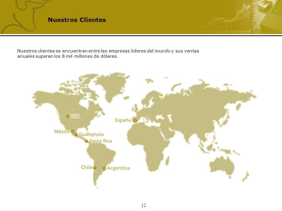12 Nuestros Clientes Nuestros clientes se encuentran entre las empresas lideres del mundo y sus ventas anuales superan los 8 mil millones de dólares.