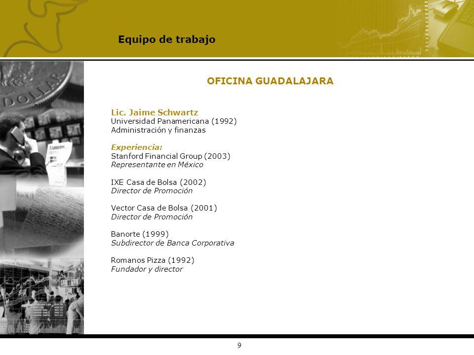 9 OFICINA GUADALAJARA Lic. Jaime Schwartz Universidad Panamericana (1992) Administración y finanzas Experiencia: Stanford Financial Group (2003) Repre