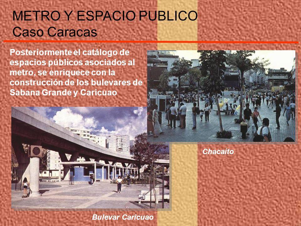 Posteriormente el catálogo de espacios públicos asociados al metro, se enriquece con la construcción de los bulevares de Sabana Grande y Caricuao METR