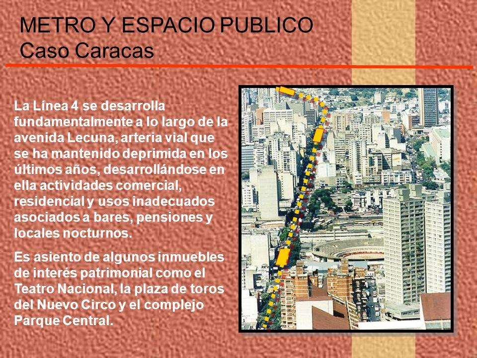 METRO Y ESPACIO PUBLICO Caso Caracas La Línea 4 se desarrolla fundamentalmente a lo largo de la avenida Lecuna, arteria vial que se ha mantenido depri