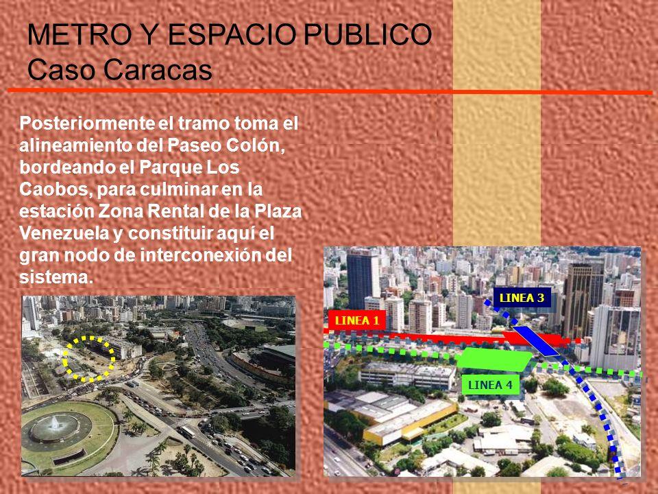 Posteriormente el tramo toma el alineamiento del Paseo Colón, bordeando el Parque Los Caobos, para culminar en la estación Zona Rental de la Plaza Ven