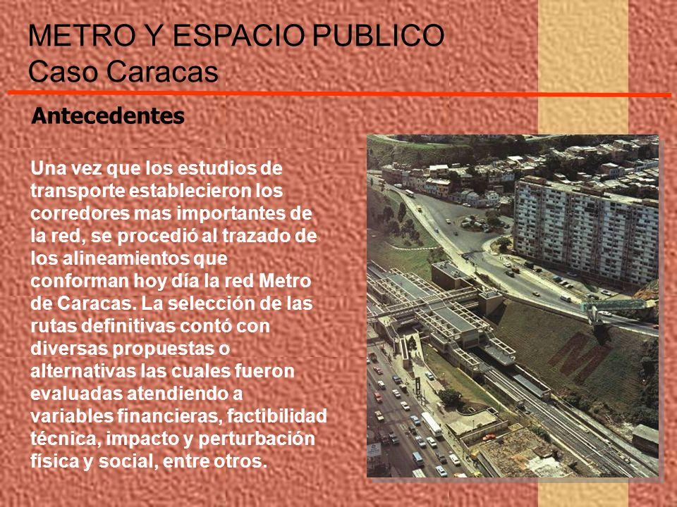 METRO Y ESPACIO PUBLICO Caso Caracas La construcción de la obra produjo una serie de interrupciones y desvíos de tránsito que conjuntamente con los lotes de terrenos expropiados para uso de los contratistas, condujeron a la creación de nuevas situaciones urbanas que fueron progresivamente intervenidas a favor del espacio público y de la peatonalización de la ciudad Antecedentes