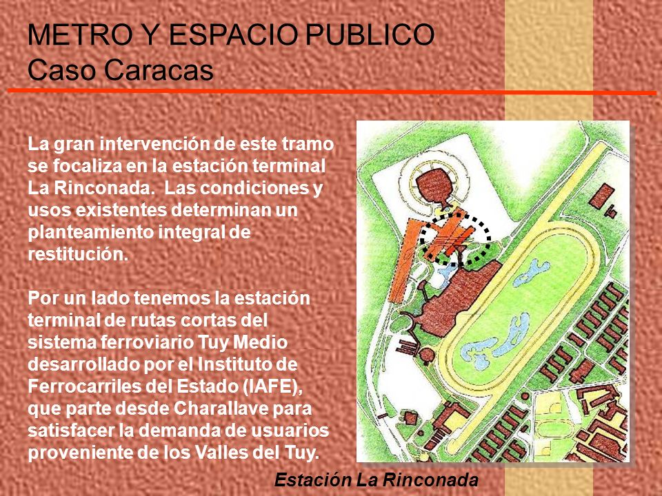 METRO Y ESPACIO PUBLICO Caso Caracas La gran intervención de este tramo se focaliza en la estación terminal La Rinconada. Las condiciones y usos exist