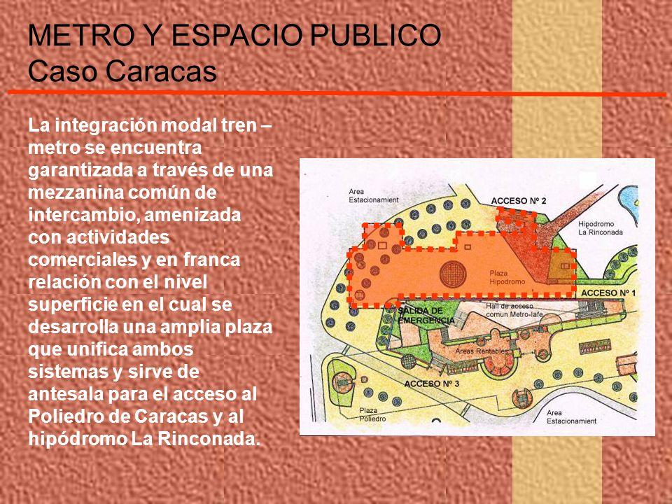 METRO Y ESPACIO PUBLICO Caso Caracas La integración modal tren – metro se encuentra garantizada a través de una mezzanina común de intercambio, ameniz