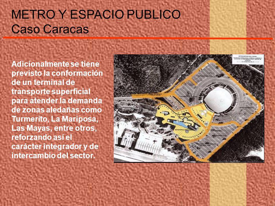 METRO Y ESPACIO PUBLICO Caso Caracas Adicionalmente se tiene previsto la conformación de un terminal de transporte superficial para atender la demanda