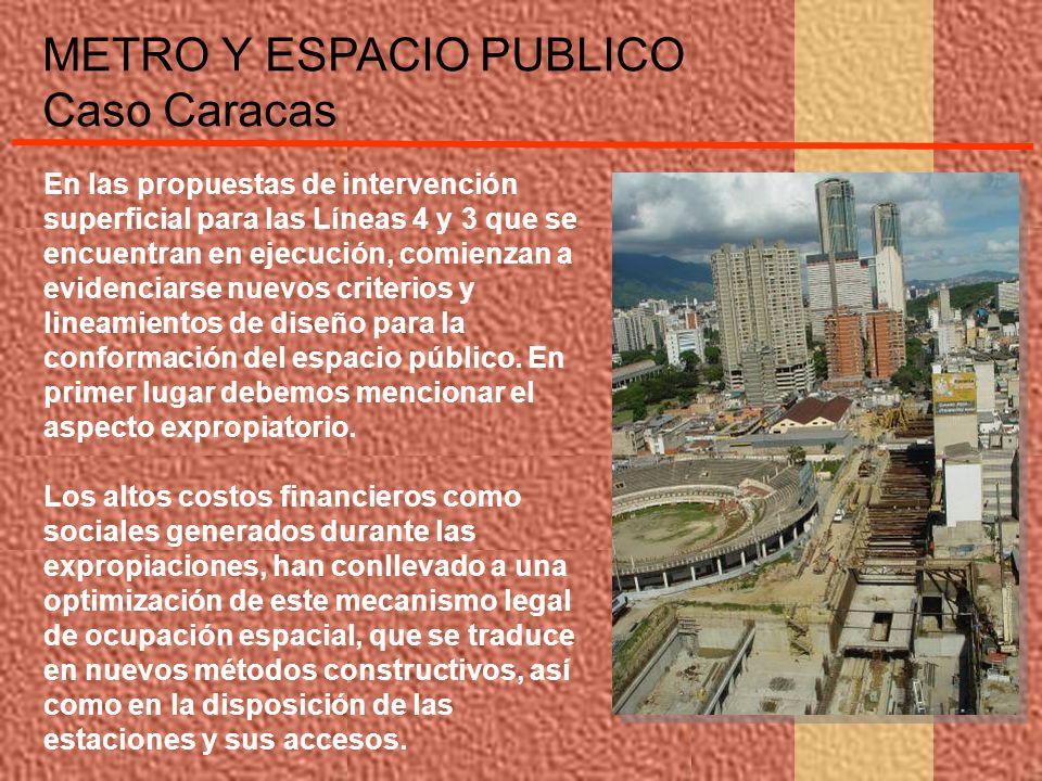METRO Y ESPACIO PUBLICO Caso Caracas En las propuestas de intervención superficial para las Líneas 4 y 3 que se encuentran en ejecución, comienzan a e