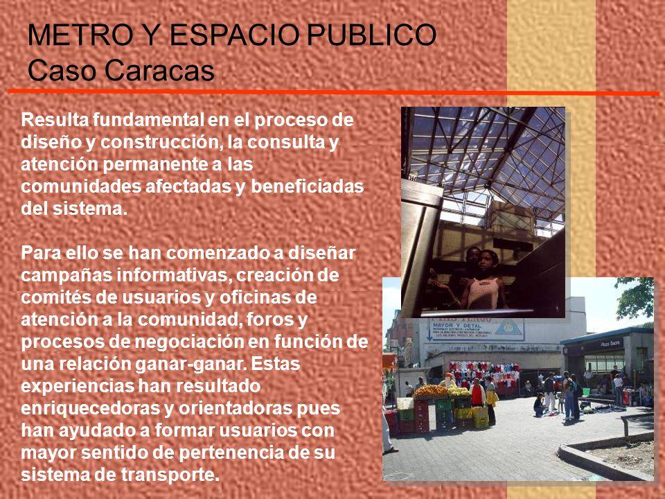 METRO Y ESPACIO PUBLICO Caso Caracas Resulta fundamental en el proceso de diseño y construcción, la consulta y atención permanente a las comunidades a