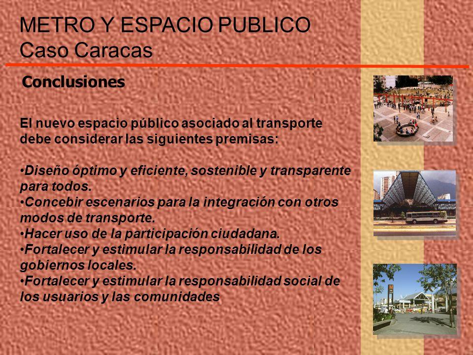 METRO Y ESPACIO PUBLICO Caso Caracas El nuevo espacio público asociado al transporte debe considerar las siguientes premisas: Diseño óptimo y eficient