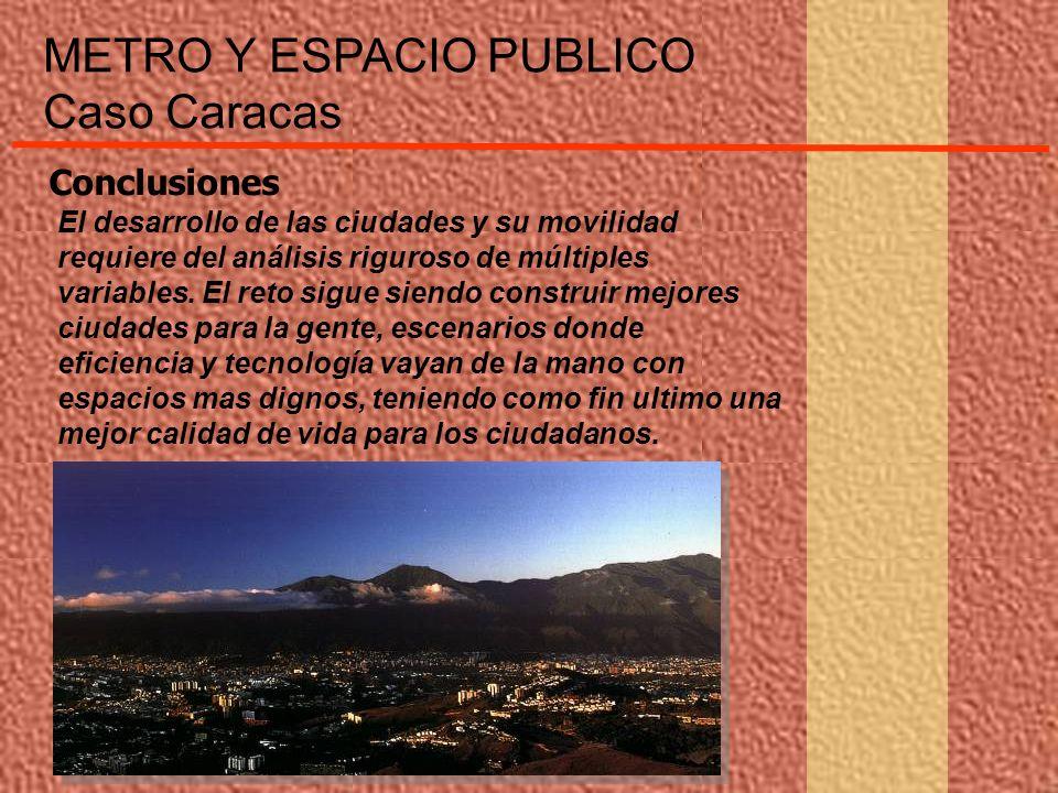 METRO Y ESPACIO PUBLICO Caso Caracas El desarrollo de las ciudades y su movilidad requiere del análisis riguroso de múltiples variables. El reto sigue