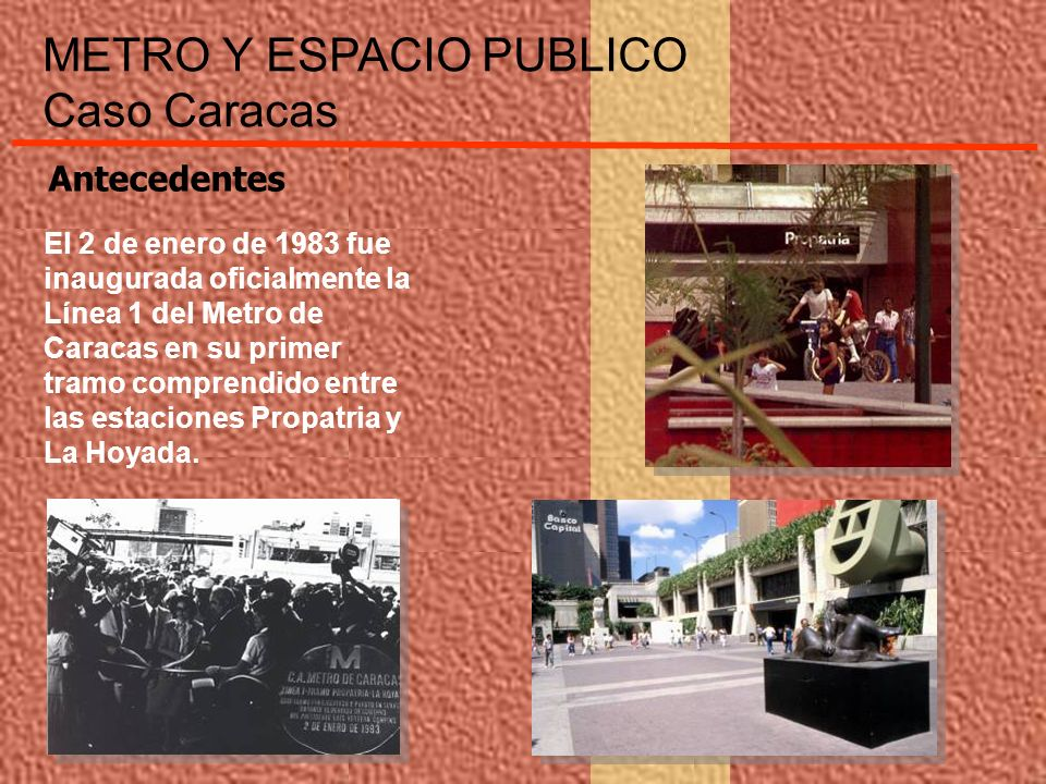 El 2 de enero de 1983 fue inaugurada oficialmente la Línea 1 del Metro de Caracas en su primer tramo comprendido entre las estaciones Propatria y La H