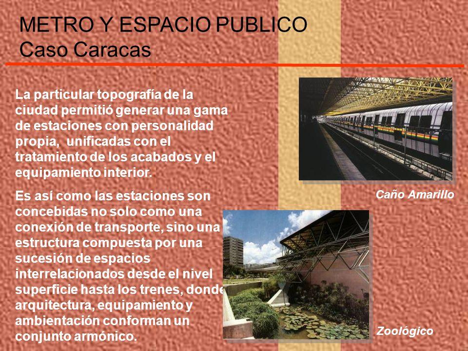 METRO Y ESPACIO PUBLICO Caso Caracas En las propuestas de intervención superficial para las Líneas 4 y 3 que se encuentran en ejecución, comienzan a evidenciarse nuevos criterios y lineamientos de diseño para la conformación del espacio público.
