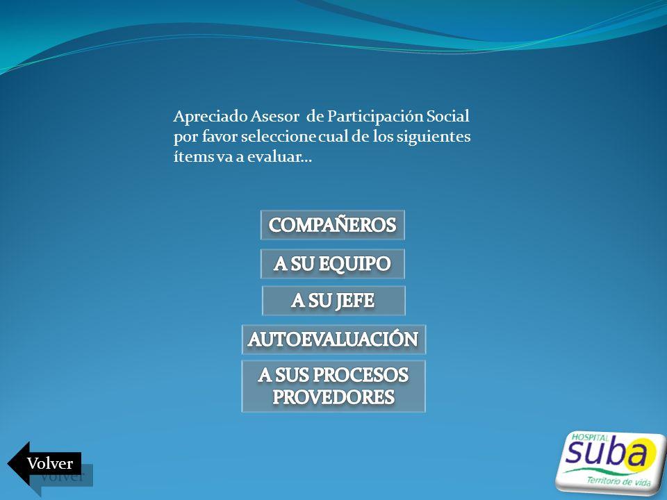Apreciado Asesor de Participación Social por favor seleccione cual de los siguientes ítems va a evaluar… Volver
