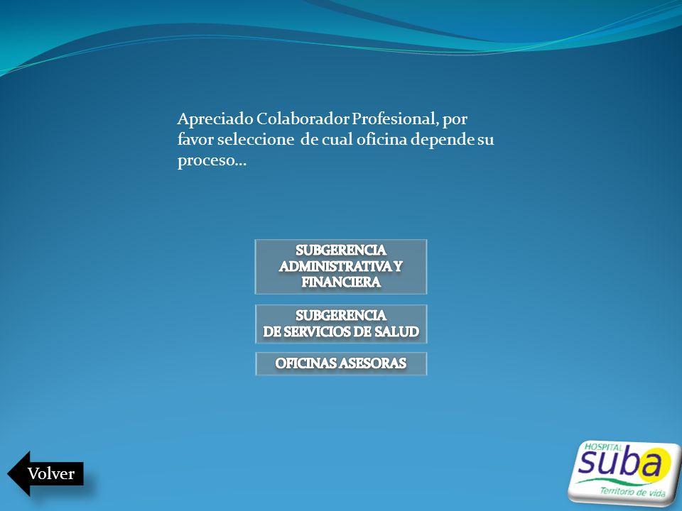 Apreciado Colaborador Profesional, por favor seleccione de cual oficina depende su proceso… Volver