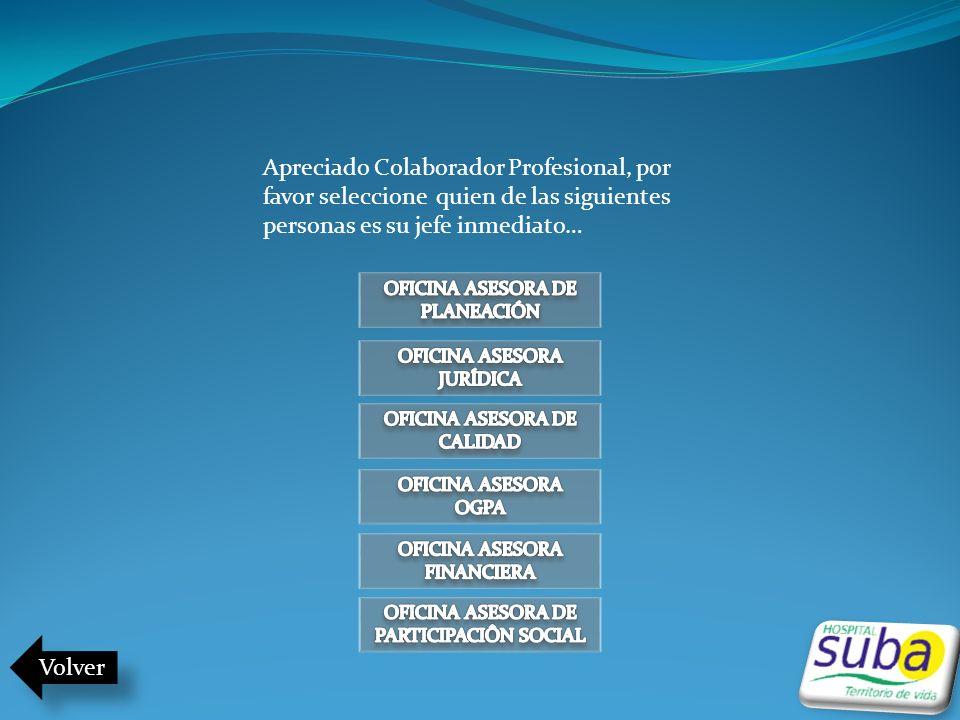 Volver Apreciado Colaborador Profesional, por favor seleccione quien de las siguientes personas es su jefe inmediato…