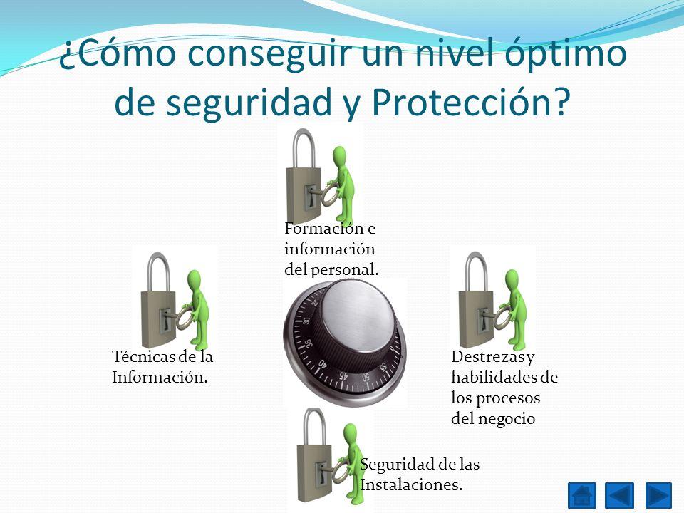¿Cómo conseguir un nivel óptimo de seguridad y Protección? Destrezas y habilidades de los procesos del negocio Formación e información del personal. T