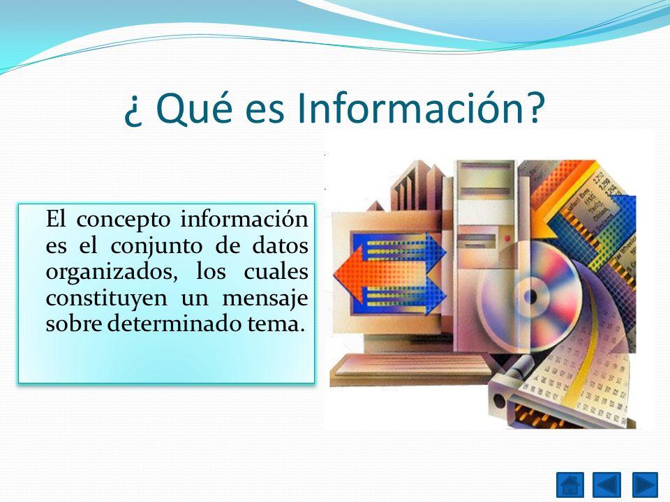 ¿ Qué es Información? El concepto información es el conjunto de datos organizados, los cuales constituyen un mensaje sobre determinado tema.