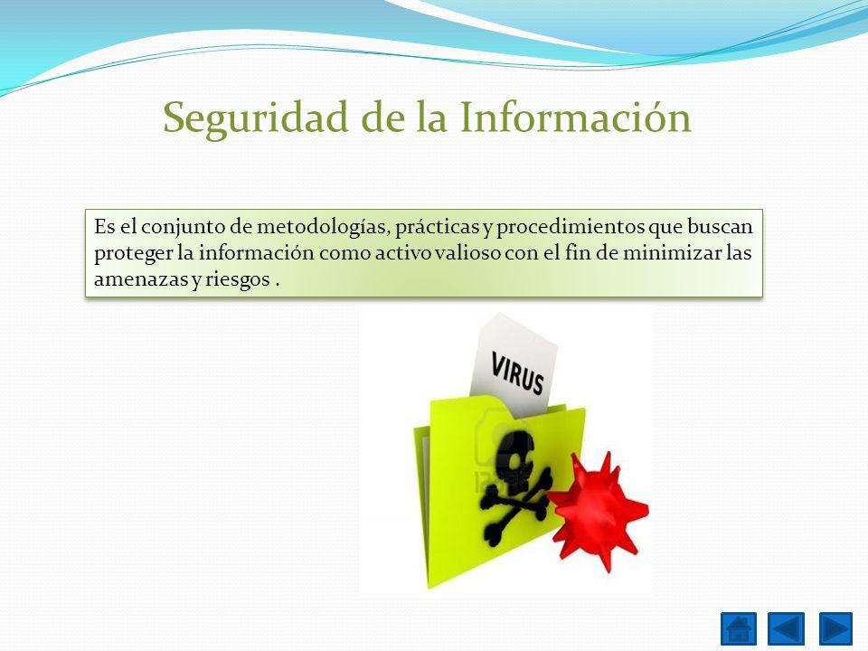 Seguridad de la Información Es el conjunto de metodologías, prácticas y procedimientos que buscan proteger la información como activo valioso con el f