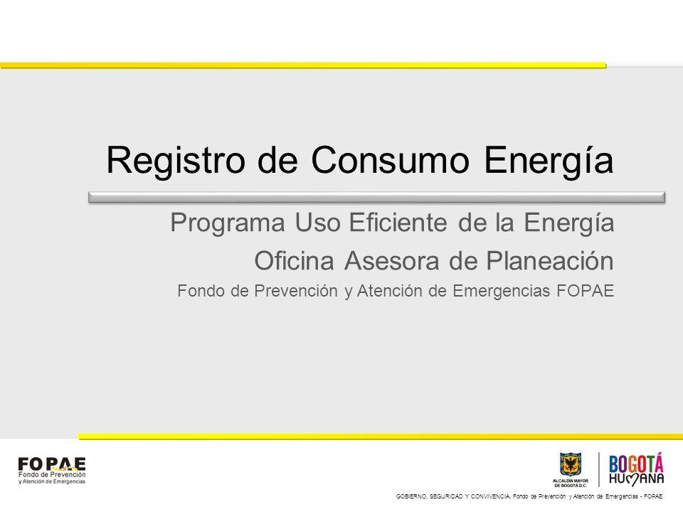 GOBIERNO, SEGURIDAD Y CONVIVENCIA, Fondo de Prevención y Atención de Emergencias - FOPAE Registro de Consumo Energía Programa Uso Eficiente de la Energía Oficina Asesora de Planeación Fondo de Prevención y Atención de Emergencias FOPAE