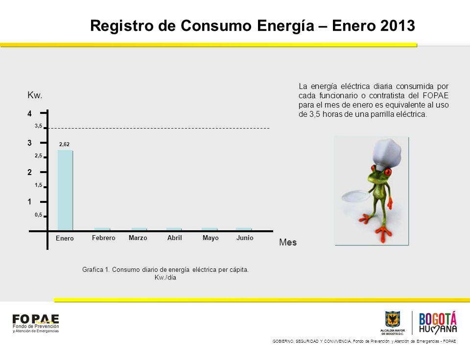 GOBIERNO, SEGURIDAD Y CONVIVENCIA, Fondo de Prevención y Atención de Emergencias - FOPAE Registro de Consumo Energía – Febrero 2013 1 2 3 4 Enero FebreroMarzoAbrilMayoJunio Kw.
