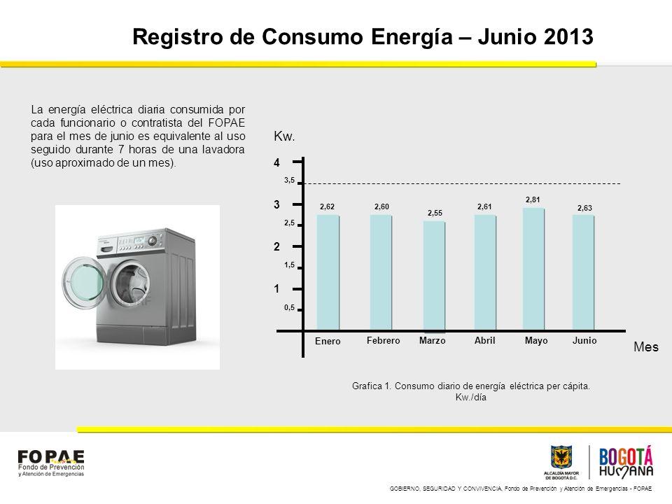 GOBIERNO, SEGURIDAD Y CONVIVENCIA, Fondo de Prevención y Atención de Emergencias - FOPAE Registro de Consumo Energía – Junio 2013 1 2 3 4 Enero Febrer
