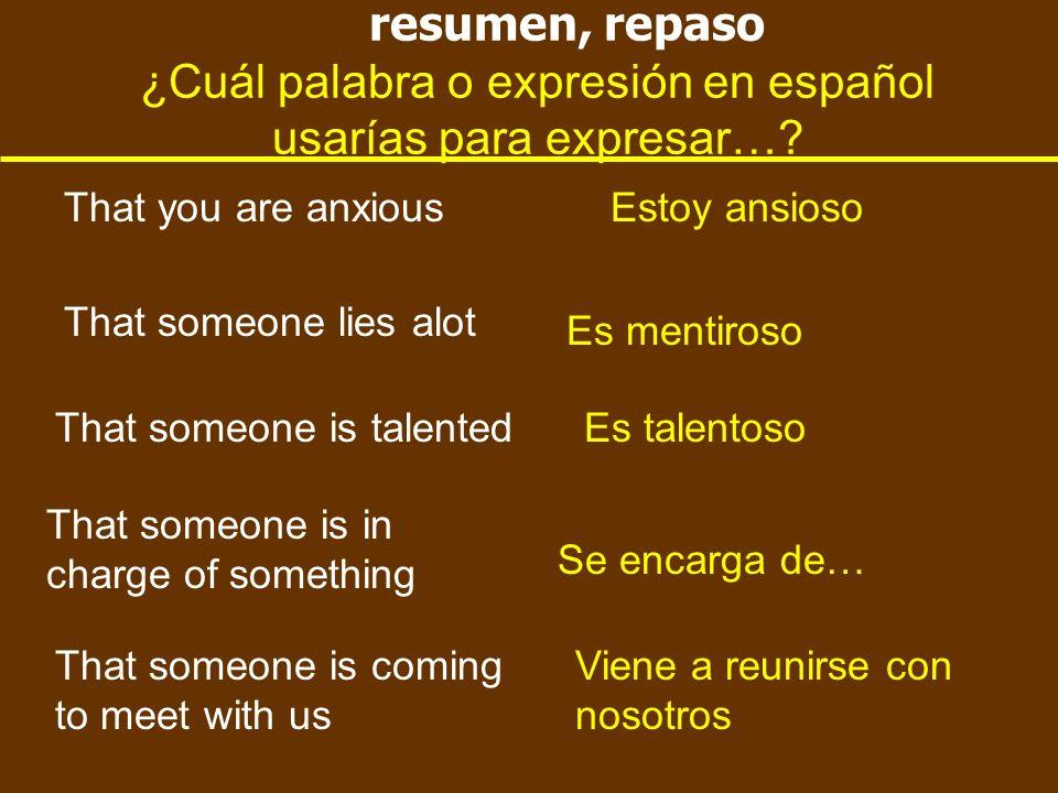 resumen, repaso ¿Cuál palabra o expresión en español usarías para expresar….