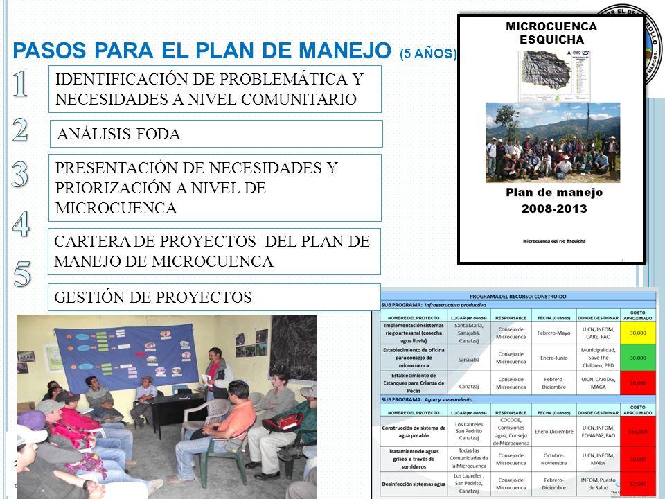 PASOS PARA EL PLAN DE MANEJO (5 AÑOS) IDENTIFICACIÓN DE PROBLEMÁTICA Y NECESIDADES A NIVEL COMUNITARIO PRESENTACIÓN DE NECESIDADES Y PRIORIZACIÓN A NIVEL DE MICROCUENCA CARTERA DE PROYECTOS DEL PLAN DE MANEJO DE MICROCUENCA ANÁLISIS FODA GESTIÓN DE PROYECTOS MICROCUENCA ESQUICHA